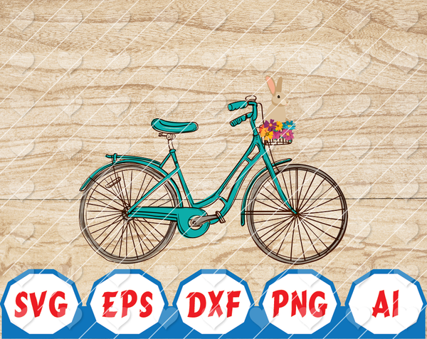 Bunny Bike Digital Download Easter Bike Digital Image PNG Easter Sublimation Bunny Basket Spring Download Hand Drawn Art