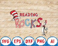 Reading Rocks Love to Read Hand drawn Read Across America Day Reading Digital Download PNG File T Shirt Design Dr. Seuss