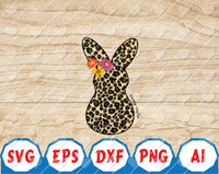 Happy Easter Leopard Print Bunny Digital Download Animal Print Easter Sublimation PNG Cheetah Print Bunny Printable Floral Leopard Prin