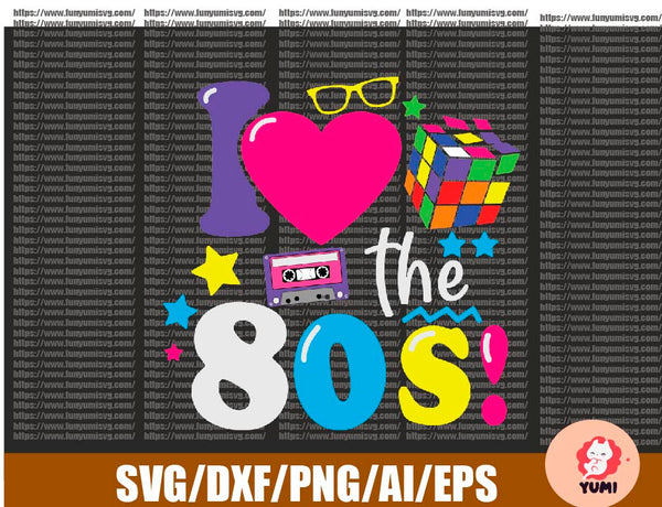 80s I Love The 80s Gifts Design 2020 PNG File Download