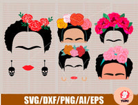 frida kahlo svg silhouette, clipart, svg, png, eps, dxf, ai files. Instant download