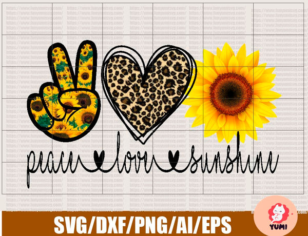 Peace love Sunshine sublimation design - Sunflower leopard - Sublimation design download - Sunflower png - Peace Love Sunshine file