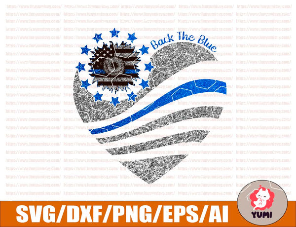 Back the blue, sunflower america flag, police red white blue firework, police birthday gift, police lovers funny design PNG