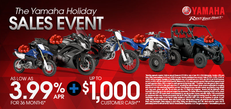 2015 Yamaha Holiday Sales Event
