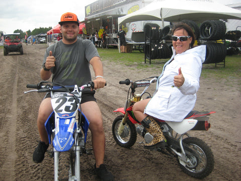 Lynn Blalock and Fernando Casagrande on Pit Bikes at a FTR Hare Scramble