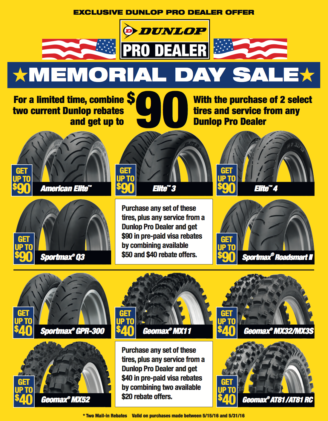 Dunlop Tire Memorial Day Rebate Sale