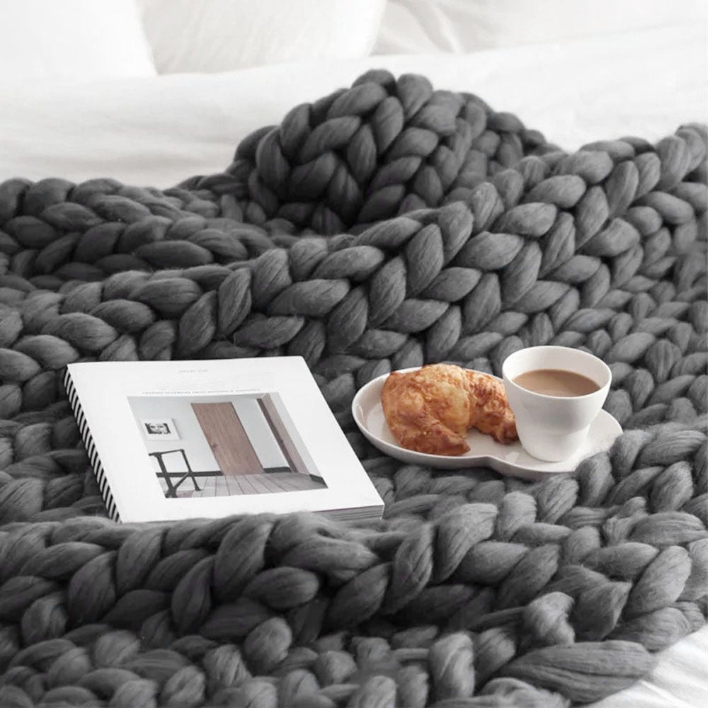 Chunky Knitted Wool Throw/ Blanket