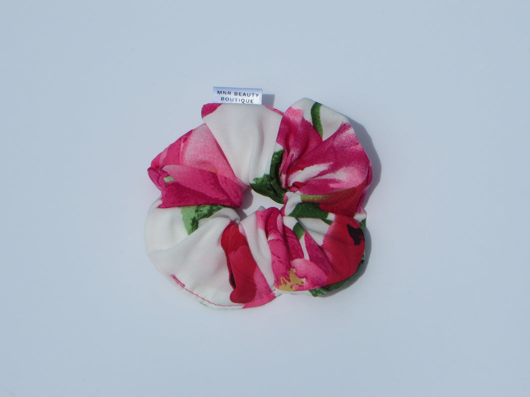 White Floral Mini Scrunchie