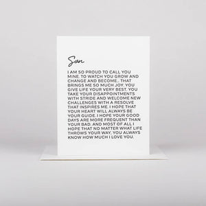 Letter To Son Greeting Card