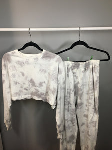 Grey Cropped Tie Dye Set Small