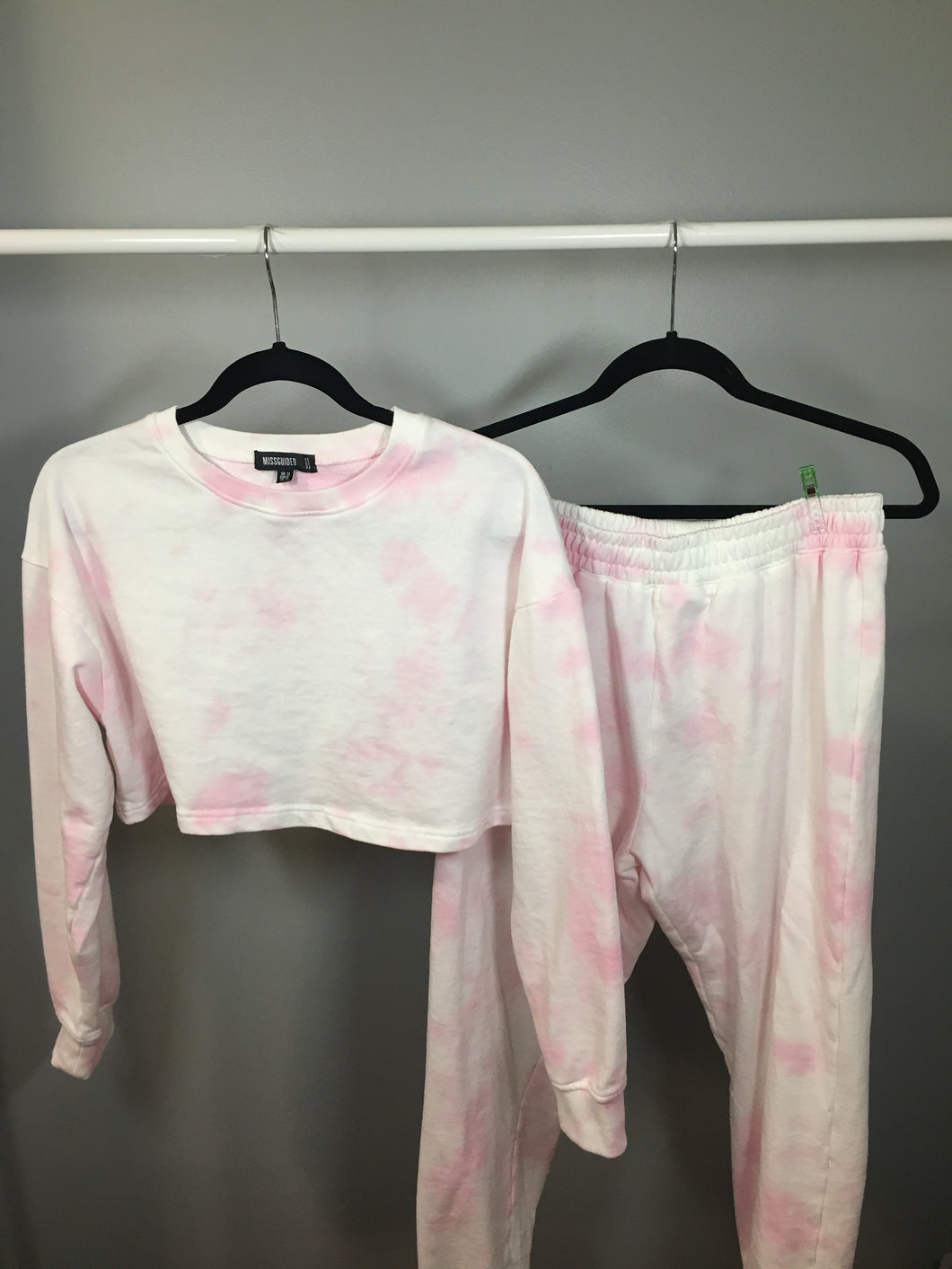 Pink Cropped Tie Dye Set Medium