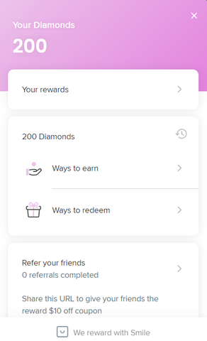 small banner about your rewards and reward opportunities