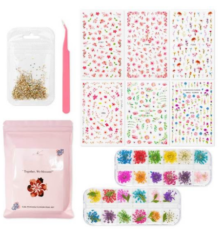 Dry Flower Nail Decal Kit