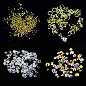 12 PC Mix Diamond, Rhinestones, & Shapes Set - Double Dip Nails