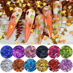 Autumn Glitter Maple Leaves Sequins 12 Mix Colors - Double Dip Nails