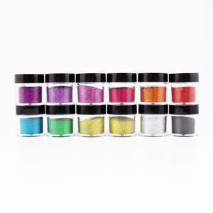 ED01-LD11-15 12 PCS Mix Loose Fine Glitter Set #15 - Double Dip Nails