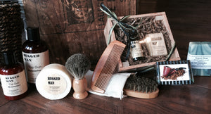 Men's natural beard and shaving care.  Shaving soap, aftershave, beard oil, beard shampoo, Pipe Tobacco Soap.