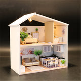 Modern Style Miniature Wooden DIY Doll House With Furniture And Lights