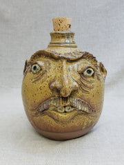 Ash Glazed Effigy  jug - Half Gallon