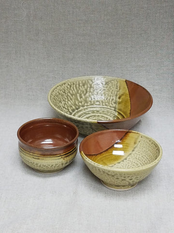 Bowl Set,  4 pc. Ash / Persimmon Glaze