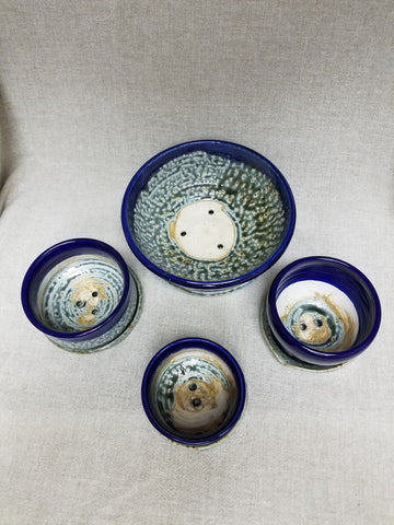 Succulent Planters,  Set of Four with Blue Ash Glaze