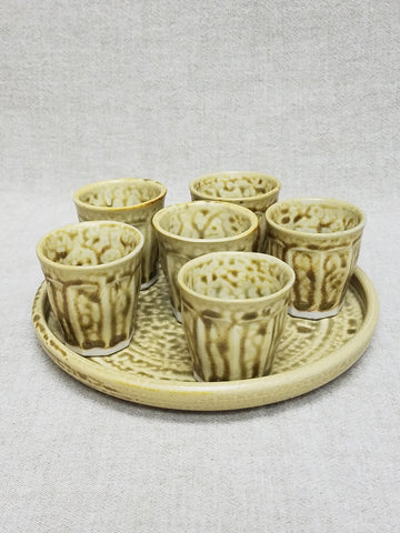 Shot Glass, Tasting Group of Six with Tray