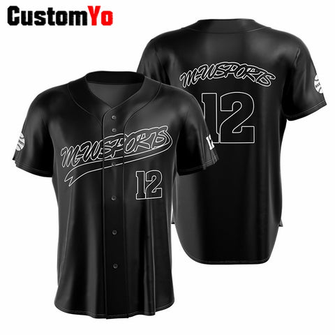 Design Your Own Baseball Shirt With Sponsor Name Black 100% Polyester Baseball Jersey