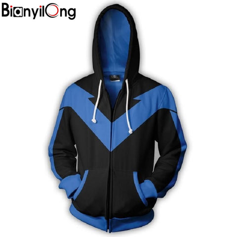 2019 new Men Women Hooded Nightwing Zip Up Hoodie 2 3D Printed Hoodies Tracksuit zipper hip hop tops Zip hoodie