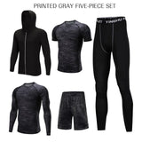5 Pc/Set Mens Compression Workout Suits