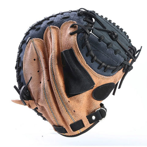Outdoor Sports Brown Black Leather Baseball Catcher Glove Softball Practice Equipment Size 12.5 Left Hand for Adult Training