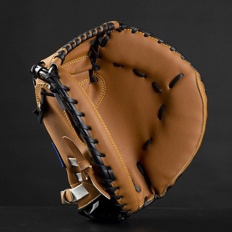 FDBRO Baseball Catcher Glove  Outdoor Sports Brown Black PVCSoftball Practice Equipment Size 12.5 Left Hand for Adult Training