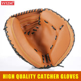 12.5'' Baseball Catcher Gloves thick PVC Imitation Cow Leather Gamer Glove Adult Catch Guantes de beisbol Self Defense Weapon