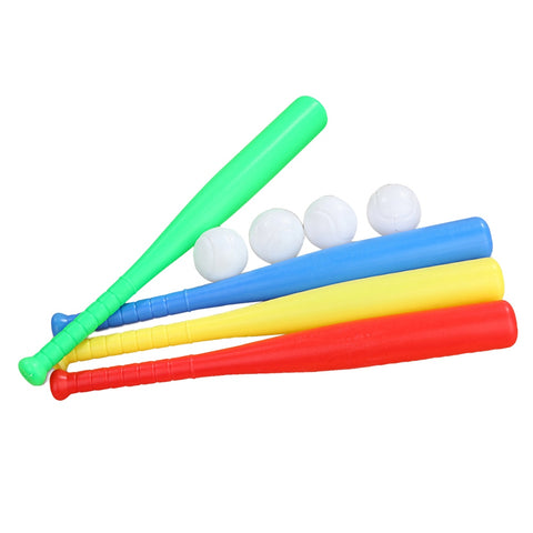 4 Sets Plastic Baseball Bat Kit with Baseball Toy for Kids Children Outdoor Sports Red Yellow Blue Green Each Set