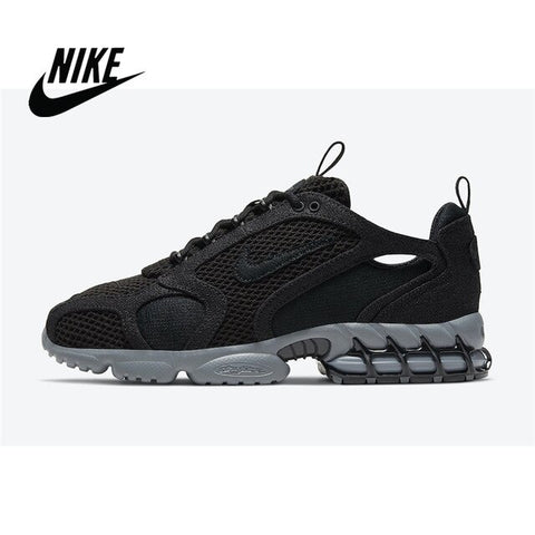 Stussy x Nike Air Zoom Spiridon Caged 2 Men's Sports Jogging Shoes Milky Black Burlap  CQ5486-200