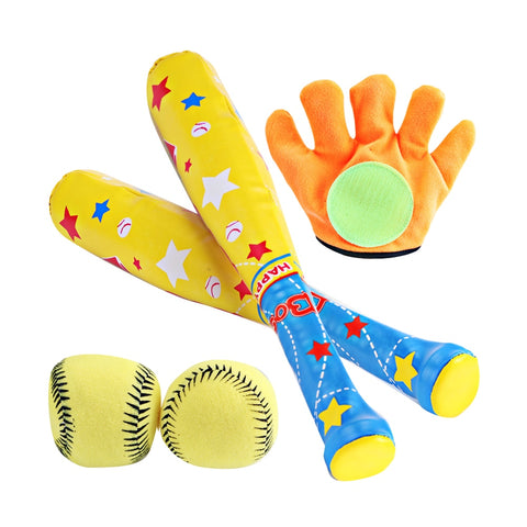 1 Set/4 Pcs ABS Baseball Kit Baseball Toy for Kids Chindren Outdoor Sports (1 Pc Bat, 1 Pc Hoop and Loop Glove, 2 Pcs Baseball)