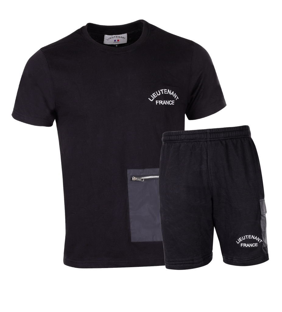 "ENSEMBLE T-SHIRT-SHORT | ""SATURNE"" - Noir/Blanc"