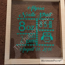 Load image into Gallery viewer, Personalized birth announcement frame