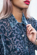 Load image into Gallery viewer, Silver Velvet Burnout Fiorella Rubino Devoré Blouse, Small