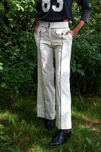 Cream Moschino Flared Sailor Pants with Navy Piping, 26""