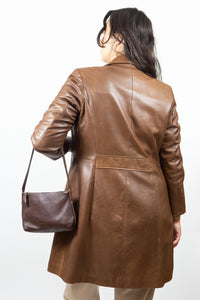 Brown Pebble Leather Roots Baguette