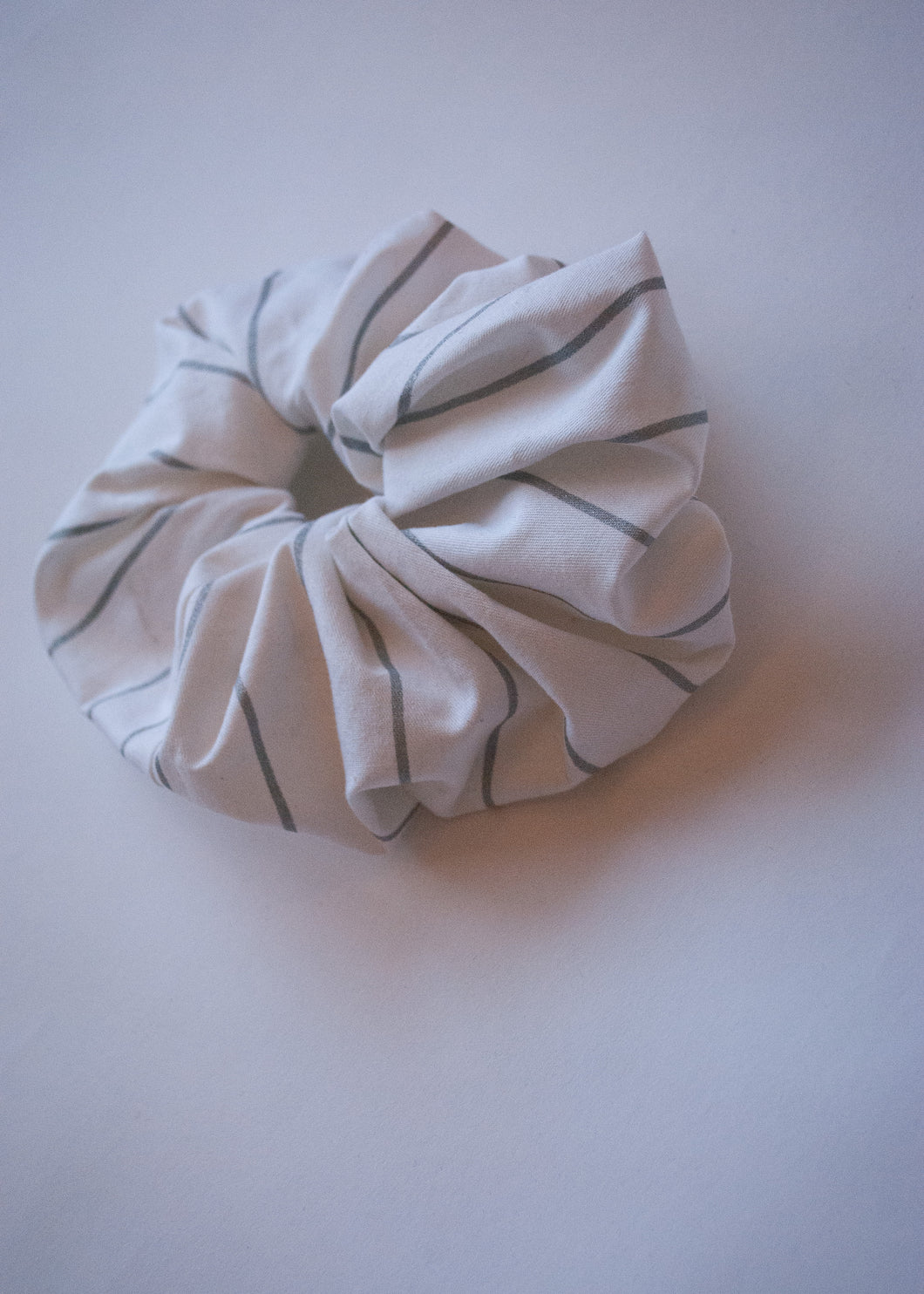 White Cotton Striped Oversize Scrunchie