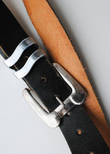 Load image into Gallery viewer, Black Leather Belt with Oversize Silver Buckle, 29/30""