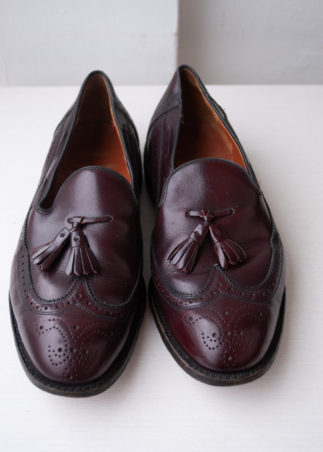 Oxblood Dack's Brogue Tasseled Loafers, Size 10.5