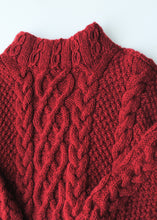 Load image into Gallery viewer, Handmade Red Cabled Sweater, Large