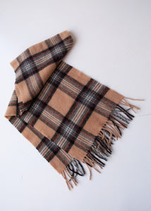 Tan Plaid Lambswool Scarf