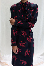 Load image into Gallery viewer, Vintage Chloë Silk Black Floral Dress, Small