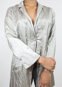 Silver Eileen Fisher Crinkle Jacket, Large