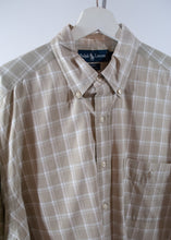 Load image into Gallery viewer, Tan Plaid Cotton Ralph Lauren Oxford, Large