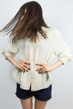 Load image into Gallery viewer, Cream Silk Pin Tuck Jones New York Blouse, 14