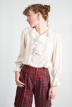 Load image into Gallery viewer, Romantic Ruffled Cream Silk Blouse, sm-med